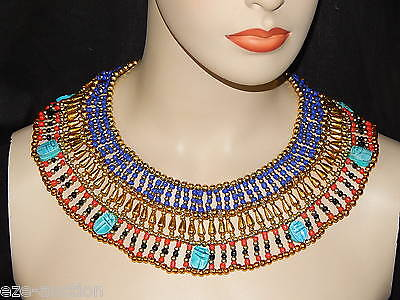 Egyptian Cleopatra Belly Dance Oriental 7 Scarabs Collar Necklace