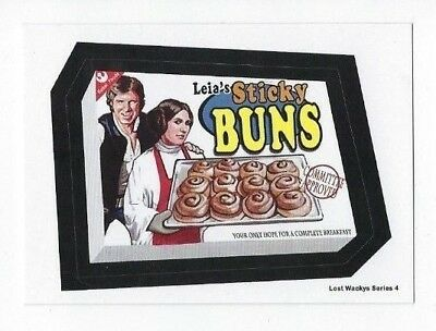 2018 Lost Wacky Packages Series 4 STAR WARS Bonus Sticker LEIA'S STICKY BUNS NR