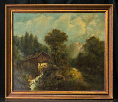 """Antique Large American Original Oil Painting """"Country House"""""""