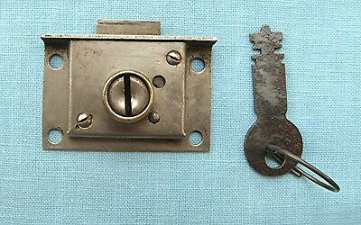 Early #1 National Cash Register lid lock and key for covers on old cash register