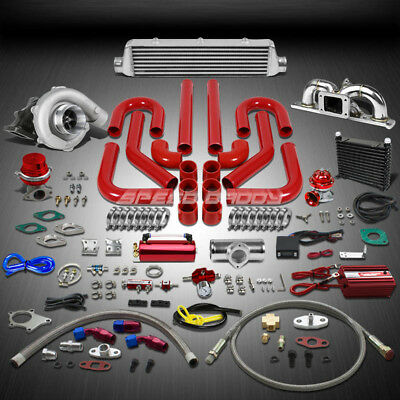T04 .63Ar 400+Hp 16Pc Turbo Charger+Manifold+Intercooler Kit For 03-08 Gk 2.0L