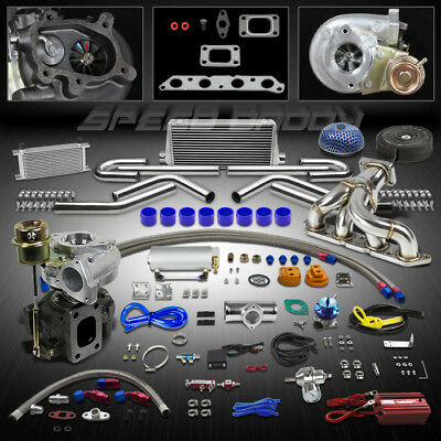 T25 16Pc Turbo Kit+Manifold+Intercooler For 89-93 Celica 88-97 Corolla 4A-Fe