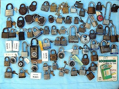 Huge Lot of old Padlocks Over 35 pounds Most with keys all keyed locks are work