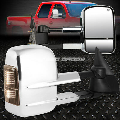 For 03-06 Silverado/sierra Power+Smoke Signal Led Chrome Towing Side Mirror Pair