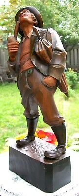Best Early Patinated Anri Carved Wood Figural Whimsical Man Smoking Pipe 15""