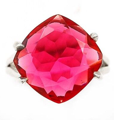 8CT Rubellite Tourmaline 925 Solid Genuine Sterling Silver Ring Jewelry Sz 7.5