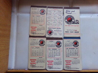 Miscellaneous lot of NORTHERN PACIFIC  pocket calender/note books X6-used-