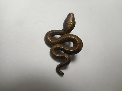 """2 Snakes Matching Pair of Brass Vintage Buttons 1"""" Realistic"""