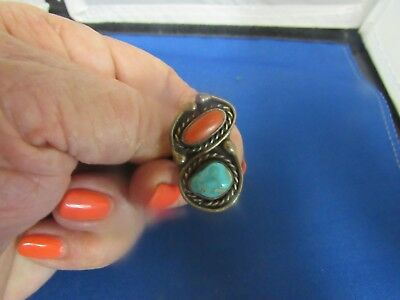 Vintage Sterling Silver Native American Turquoise Coral Pawn  Ring