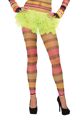 fcd8092675590 Neon Rainbow Striped Fishnet Leggings Rave 80's 80s Club Candy Costume  Accessory