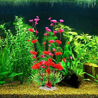 US Artificial Water Grass Aquarium Fish Tank Decor Plant Ornament Ceramic Base