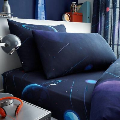Space Single Fitted Sheet & Pillowcase Set Blue Planets Kids Bedding