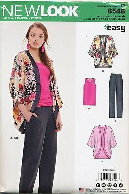 New Look Sewing Pattern 6546 Misses 6-24 Kimono Jacket, Top & Pants, Plus Sizes