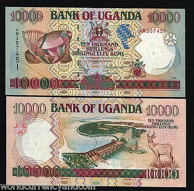 Uganda 10000 Shillings P38A 1995 Music Dam Antelope Unc Currency Money Bill Note