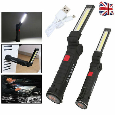 COB LED Magnetic Work Light USB Rechargeable Inspection Torch Lamp Flexible UK