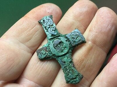 Very Rare Medieval Inlaid Enamel Crucifix