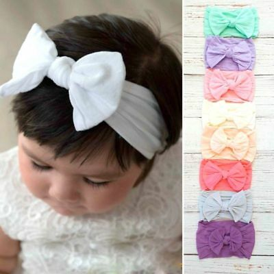 Baby Girls Wide Nylon Bow Headband Knot Head Wraps One Size Fit Most 18 Colors