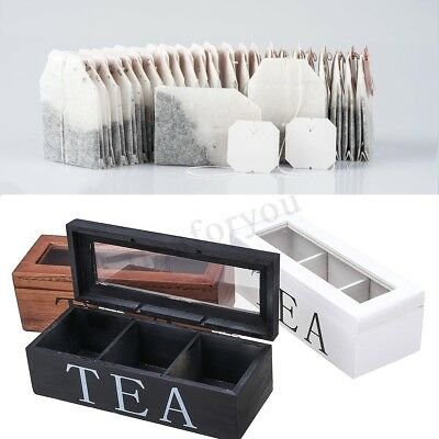 3 Compartments Wooden Tea Box Glass Organizer Top Lid Container Storage Chest