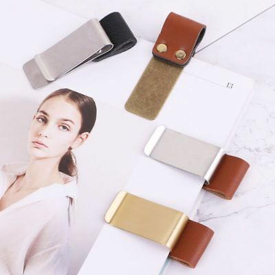 Handmade Leather Stainless Steel Pen Holder Clip Journal Paper Folder Notebook