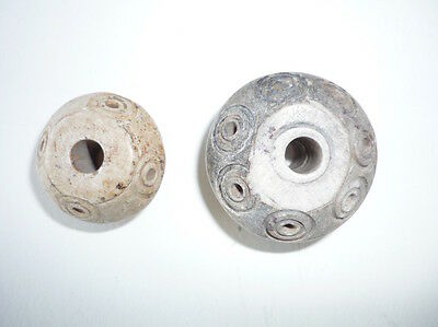 2 Ancient Pre-Columbian Hardstone Spindle Whorls or Beads