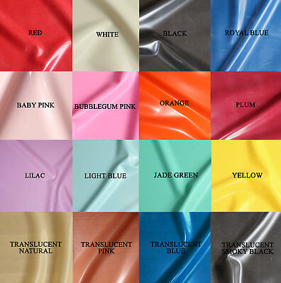 0.25mm Gauge Sheet Latex/Rubber by Continuous Metre - 1m Width - 18 Colours