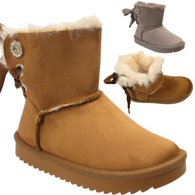 Kids Boys Girls Suede Fur Lined Satin Bow Snugs Snow Winter Warm Infant Boots