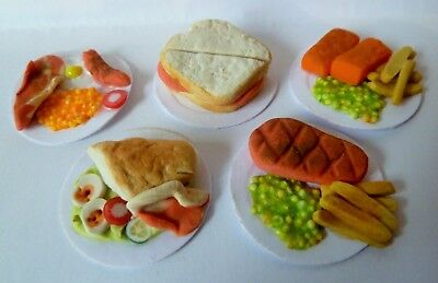 "Dolls House Miniature Mixed Food Lunch On 1"" Cardboard Plates X 5 * Combined P+P"