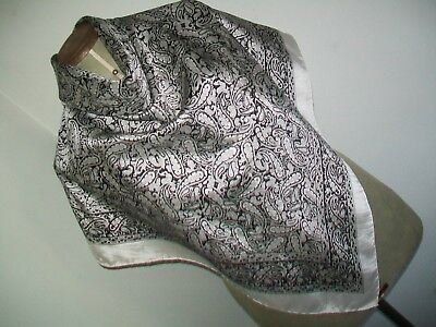 Large & Very Smart Monochrome Classic Paisley Design Vintage Silk Scarf