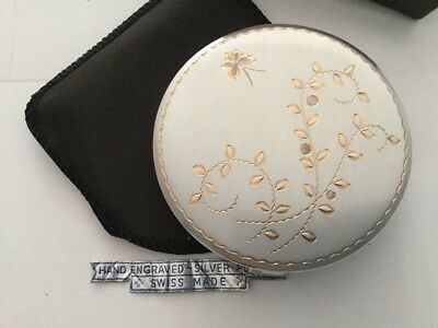 Vintage La Petite Swiss Made Ladies Powder Compact, Silver Plated