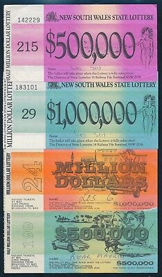 Australia: NSW STATE LOTTERY. 1980s SET of 4 different tickets to $1 Million