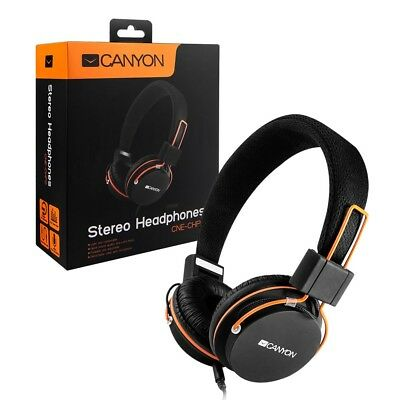 Canyon Folding Headphones with Mic for Handsfree Talk 3.5mm Jack Apple & Android