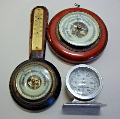 Early 20th century barometer, barometer and thermometer and oven thermometer