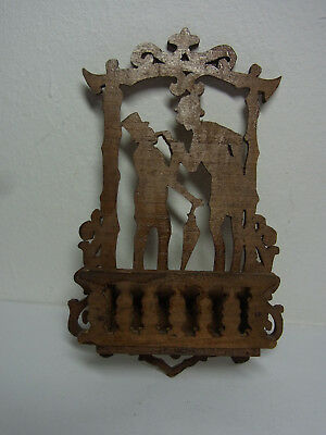 Old Vintage German Wood Fretwork Wall Holder #L
