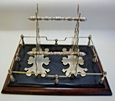 Antique silver plate with wooden base desk stand and pen rack