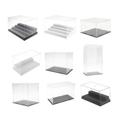 Clear Acrylic Plastic Display Case Stand Perspex Box Dustproof Protection Cubes