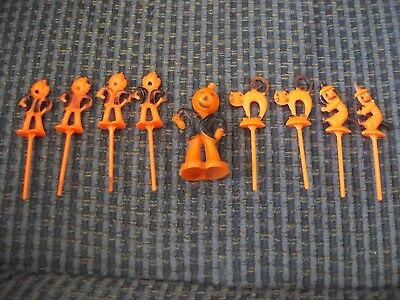 Nine Vintage Halloween Cake Decorations Witches Cats, Pumpkins