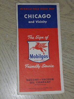 VINTAGE 1954 Socony Mobil Oil Gas Chicago Illinois City Street Highway Road Map