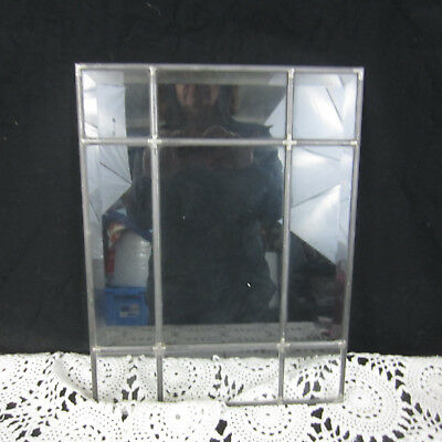 """Vintage Clear Glass Beveled  Window Panel Leaded 14 3/4"""" x 11 3/8"""""""