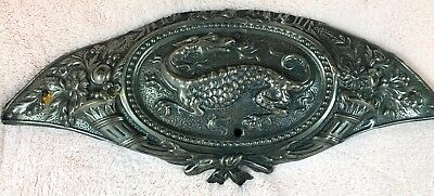 Rare Find Original Antique Pressed Metal Plaque Ornate Dragon C1880