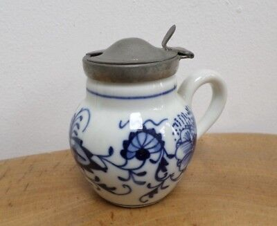 Vintage,Antique Hand Painted Blue & White 'Delft' Mustard Pot with Pewter Lid