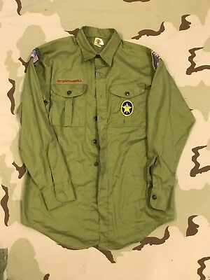 Boy Scouts Of America Vintage Shirt Green Bsa Last Frontier Oklahoma Patch