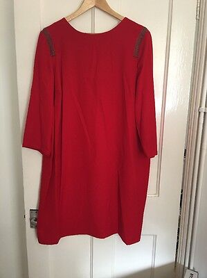 BNWT Marks And Spencer Size 22 Red Crepe Dress