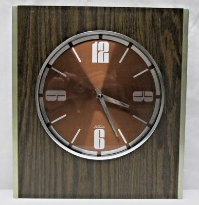 Vintage Mid Century Modern Sunbeam Wall Clock Retro Faux Wood Grain Chrome MCM