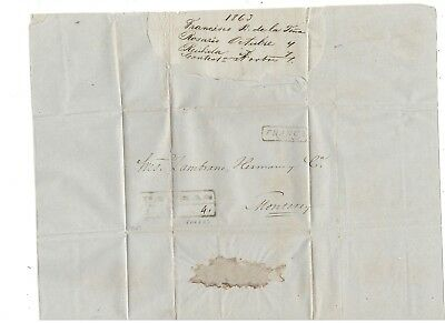 1863 Stampless Folded Letter, Parras To Monterey, Boxed Pm
