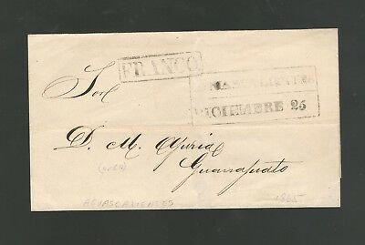 1865 Stampless Folded Cover, Aguascalientes, Boxed Pm