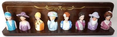 Vintage Avon American Fashion FIGURAL WOMEN THIMBLE COLLECTION Wood Stand 1983