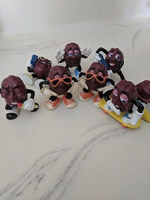 California Rasins Collector Figure Lot of 8pcs Vintage Antique Toy 1987-1988 NR