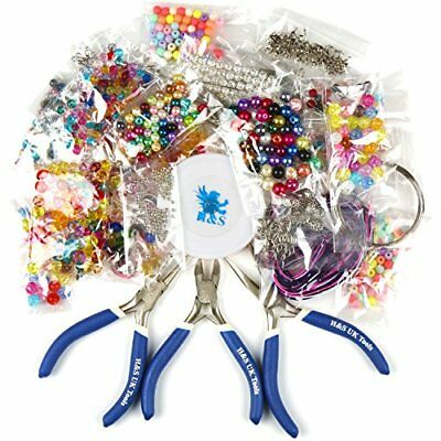 H&S® Deluxe Jewellery Making Kit Starter Tool Pliers Set Silver Beads Findings