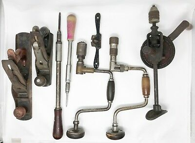 Lot 8 Vintage Woodworking Tools Stanley Yankee Hand Drill + SCP