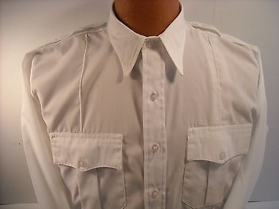 """New""  White Poly/Cotton Security Uniform Long Sleeve Shirts 22.5 X 34 Oversize"